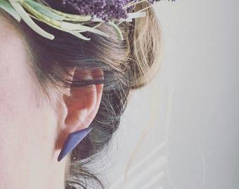 Purple triangle stud earrings