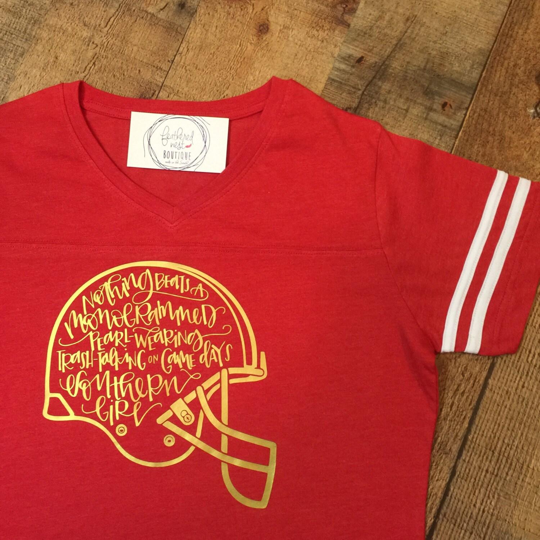 southern girls football helmet shirt - southern girls football vneck tee