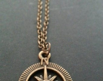 Bronze Compass Necklace