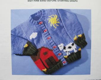 Farm Yard Cardigan Knitting Pattern, sizes 2, 4, 6, 8, Mary Maxim # 4902-3N, button front, ribbed collar, cuffs and hemline, boys or girls