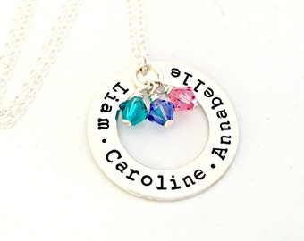Sterling Silver Open Circle Necklace - Personalized Hand Stamped Custom Mommy Jewelry - Name Necklace with Swarovski Crystal Birthstones