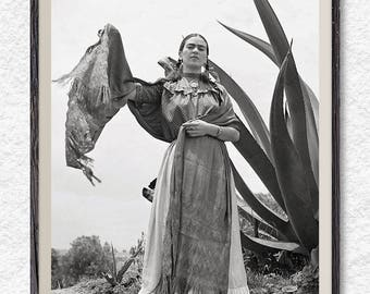 Frida Kahlo print, black and white prints, Frida Kahlo photo, gift for her