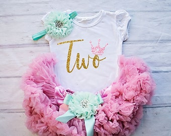 Baby Girl Clothing, 2nd Birthday Outfit, Birthday Shirt, Second Birthday Outfit Girl, Pink and Gold Birthday Outfit Set - Birthday Top