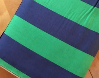 Robert Kaufman Navy and Jade Wide Stripe