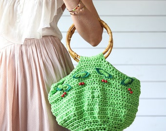 Cute vintage green textile crochet knit cherry decor round bamboo handle handbag summer bag