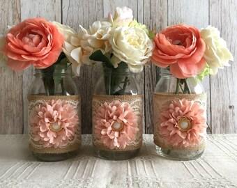 3 pale peach and vintage beige lace and burlap mason jar vases, wedding, bridal shower, baby shower decoration