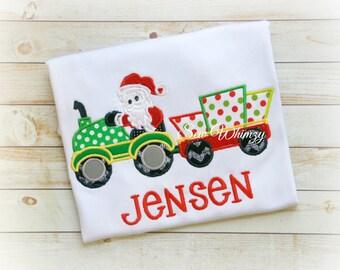 Christmas Santa tractor shirt or bodysuit- Boys Christmas shirt- Tractor shirt- Boy Tractor shirt- Christmas Tractor shirt- Monogram shirt