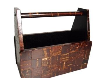 Handmade Japanese Box with Handle. Wood with Birch Marquetry. Traditional Japanese. Vintage. Magazine Rack. Magazine Holder. Jubako.