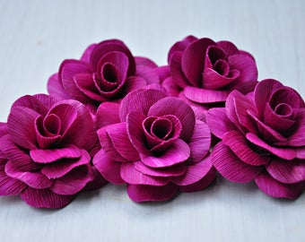 6 Pcs Magenta Eco-Friendly Corn husk Roses