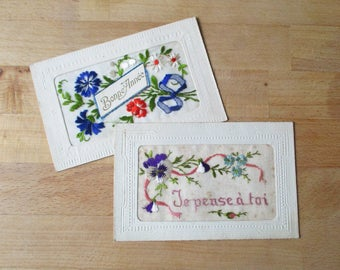 2 antique french embroidered postcard depicting flowers, 1917-1918, Old paper, Ephemera, Carte brodée 1ere guerre, 1910, France
