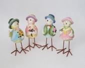 Vintage, Primitive Ceramic, Metal Bird Decoration, Easter Chicks, Pastel Colors, Spring Home Decor, Bird Figurines, Set of Four