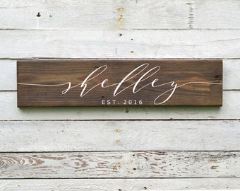 Superbe Last Name Sign, Last Name Wood Sign, Wooden Name Sign, Last Name Wall