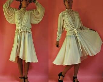 1970s Batwing Lace Cutout Bodice Victorian Revival Dress