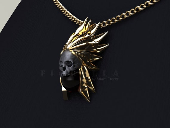 14K Gold and Oxidized Silver Art Deco Skull Necklace with Garnet Orb