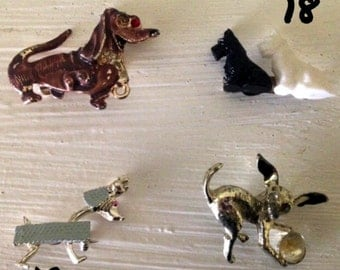 Mid Century DOG PINS: Choose your Retro Dachshund, Scottie, Chihuahua, Blue Puppy Pin Brooch!- Buy 1 or All 4