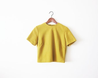 60s Blouse / Mustard Yellow Shirt / 1960s Womens Short Sleeve Top / Small