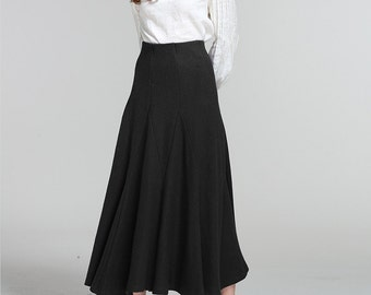 Long Linen Skirt / Navy Blue Ruffle Skirt/ Pleated Maxi Skirt