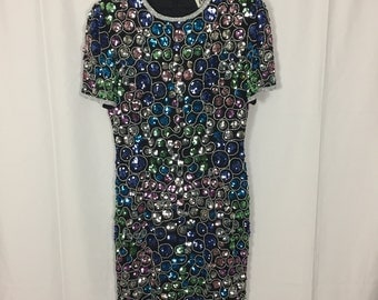 Beaded Sequin Shift Dress / Size 8