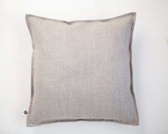 Linen throw pillow -  pillow cover - pillowcase - decorative pillow from natural linen - pillow with edging around - cushion case -  0418