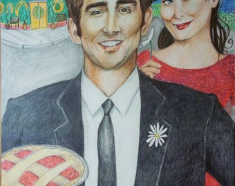Pushing Daisies Original Drawing Colored Pencil Fan Art Ned the Piemaker Chuck Bryan Fuller Television