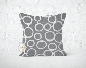 Grey Circles Pillow Cover - Freehand Ash - Lumbar 12 14 16 18 20 22 24 26 Euro - Hidden Zipper Closure