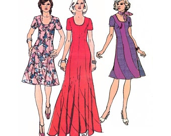 """1974 Vintage Scoop Neck Swirl Dress in Maxi or Cocktail Length, Princess Seams Curve into Scallop Hem, Simplicity 6334, Bust 34"""""""