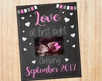 Pregnancy Announcement ultrasound PRINTABLE New Baby Chalkboard sonogram Love at first sight photo girl bow