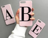 Dusty pink single letter personalised phone case - for iPhone 7, iPhone 7 PLUS,  iPhone 6/6s Plus, 5/5s, SE, Samsung Galaxy S8 Plus