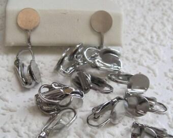 Vintage Silver 17MM Clip On Earrings 10MM Glue On Pad
