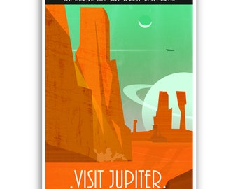 Vintage Space Travel Poster - Jupiter