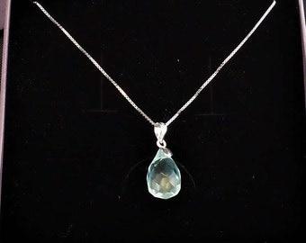 Teardrop faceted aquamarine quartz pendant on silver necklace, birthstone pendant, march birthstone
