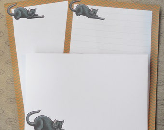 Letter paper set - cute black cat - animal lovers - stationery set - envelopes
