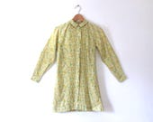 RESERVED for Cleo vintage 60s yellow mini dress long sleeve mini dress mod mini dress light yellow floral mini dress