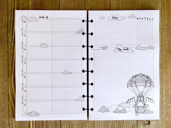 Printed discbound weekly coloring planner pages by janesagenda Coloring book planner