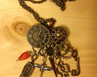 Steampunk, funky, gears, dragonfly, necklace, jewelry, antique bronze key, clock face, tobacco pipe, OOAK