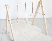 Wood Baby Gym - Foldable Play Gym - Wooden Baby Activity Center