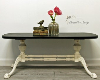 SOLD, Vintage, Hand Painted, Coffee Table, French Typography, Shabby Chic Table