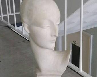 Vintage Chalkware Maugreen of London Hats Mannequin / Art Deco Figure Statue Bust Model / Retro Home Decor/ Shop Display Prop