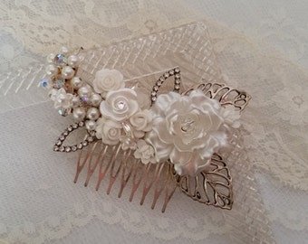 MORNING LIGHT VINTAGE Bridal Hair Comb Bride Pearls Rhinestones Crystals White Roses Silver Leaves Dreamy Elegant Sparkle One of a Kind