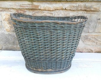 Antique Painted Splint Basket Rustic Farmhouse Primitive Woven Old Blue Paint Shabby Storage Organization Wood Bottom Waste Wastebasket