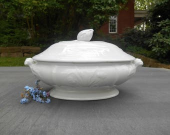 White Ironstone Tureen with Lid Wheat and Rose Covered Vegetable Dish Serving Piece Ornate Finial Handles English Iron Stone China