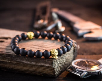 8mm - Matte black beaded stretchy bracelet with gold skull, black bracelet, mens bracelet, bead bracelet, womens beaded bracelet