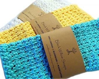 Organic Washcloth, Set of 3, Organic Cotton, Washcloth, Cotton Washcloth, Eco Friendly, Washcloths, Washcloth Set, Organic Washclothes