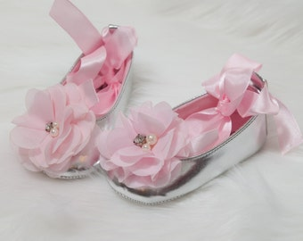 Baby Girl Silver Shoes Silver Ribbon Tie Shoes