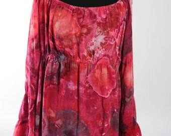 Tiered Bell  Sleeve Peasant Tunic Top, Rayon Light, Ice Dyed Tie Dyed Red and Black Colors,  MADE TO ORDER