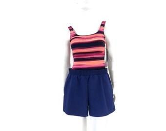 Orange Blue Striped Romper Swimsuit by Gabar Tank Style with Swim Short  Vintage Women's Swimsuit Old Store Dead Stock Size 8 #218