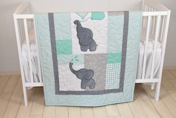 Baby Quilt Elephant Blanket Mint Green Gray Crib Bedding