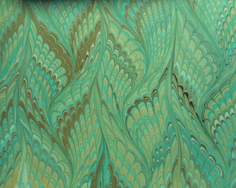 """Hand-Marbled Paper - Turquoise, brown, cream: """"Dusty Turquoise"""". For Framing, book endpapers, paper arts, collage, bookbinding."""
