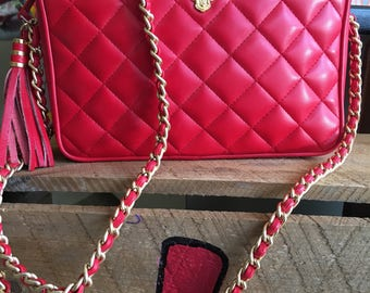 Disney Does Chanel Red Quilted Chain Strap Mickey Mouse Purse Shoulder Bag Sidebag Clutch-Vintage-80's-1980's-Tassel-Cross Body Bag