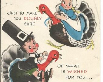 Vintage Cute Pilgrims and Turkey Thanksgiving Card 1949